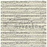 Kartonpapír - Kotta mintás papír, sárgás alapon fekete kotta, 300 gr, A4, 5 lap