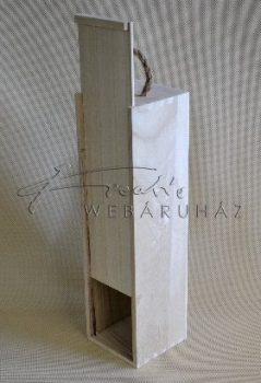 Italtartó, bortartó natúr fából, elhúzható előlappal, 35x11x10cm