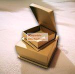 Papírdoboz készlet, 2db négyzetes, ékszeres, natúr papírmasé dobozok