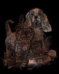 Képkarcoló készlet karctűvel - 20x25 cm - Réz - Cica és kutya