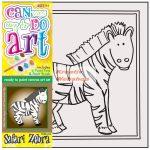 Kifestő készlet vászonra, festékkel és ecsettel - 13x13 cm - Zebra