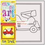 Kifestő készlet vászonra, festékkel és ecsettel - 13x13 cm - Tűzoltó autó
