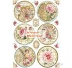 Dekupázs rizspapír A4 csomag - Rózsás és angyalos gömbök