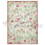 Dekupázs rizspapír A4 - Apró rózsák írásképpel