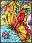 Számozott, lehúzható üvegfólia készlet festékkel, mintával, ragyogó színekkel - 24x33 cm - Pillangók