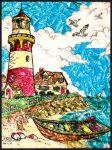 Számozott, lehúzható üvegfólia készlet festékkel, mintával, ragyogó színekkel - 24x33 cm - Világítótorony