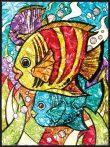 Számozott, lehúzható üvegfólia készlet festékkel, mintával, ragyogó színekkel - 24x33 cm - Trópusi hal