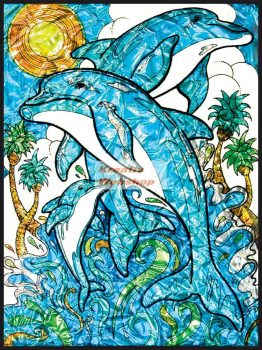 Számozott, lehúzható üvegfólia készlet festékkel, mintával - Delfinek, 24x33 cm - nagyon élénk színekkel