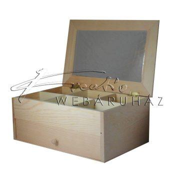 Dekorálható tükrös gyöngytartó doboz, nagyméretű, kihúzható fiókkal