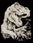 Képkarcoló készlet karctűvel - 20x25 cm - Világítós - Tyrannosaurus Rex