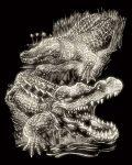 Képkarcoló készlet karctűvel - 20x25 cm - Világítós - Krokodil