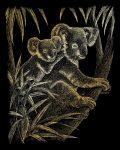 Képkarcoló készlet karctűvel - 20x25 cm - Arany - Koala