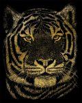 Képkarcoló készlet karctűvel - 20x25 cm - Arany - Bengáli tigris