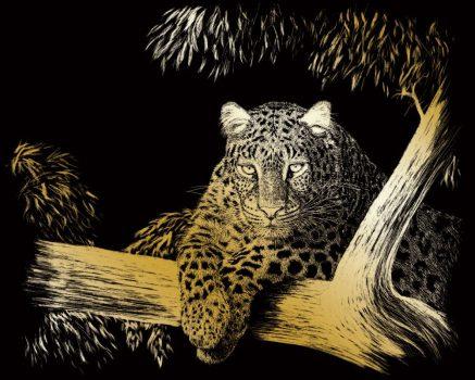 Képkarcoló készlet karctűvel - 20x25 cm - Arany - Leopárd