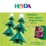 Origami papír - Curlie Zöld - fenyőzöld hajtogató készlet 15x15 cm