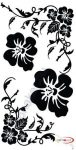 Fekete falmatrica - Virágos, indás, népi motívum #84