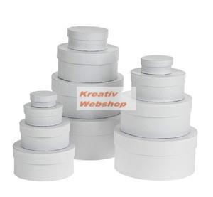 Papírdoboz készlet tetővel, fehér, kerek 12 db-os készlet, közepes és kisméretű, 16cm átmérő a legnagyobb - Újra kapható!