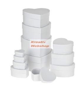 Papírdoboz készlet tetővel, fehér, szív alakú, 12 db-os