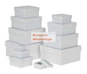 Papírdoboz készlet tetővel, fehér, négyzetes 12 db-os készlet, közepes és kisméretű, 15cm a legnagyo