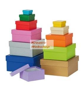 Papírdoboz készlet tetővel, színes, négyzetes, 12 db-os - Újra kapható!