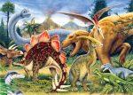 Kifestő készlet akrilfestékkel, ecsettel, gyerekeknek  - mini, 12x15 cm - Dinoszauruszok