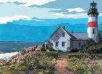 Kifestő készlet vászonra, akrilfestékkel, ecsettel, felnőtteknek - 28x36 cm - Világítótorony