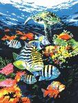 Kifestő készlet vászonra, akrilfestékkel, ecsettel, gyerekeknek 8 éves kortól - 23x30 cm - Óceán mélyén