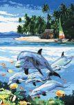 Kifestő készlet vászonra, akrilfestékkel, ecsettel, gyerekeknek 8 éves kortól - 23x30 cm - Delfinek