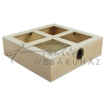 Díszíthető fa doboz, osztott fényképtartó tetővel 19,5 x 19,5 x 5 cm