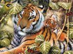 Kifestő készlet akrilfestékkel, ecsettel, gyerekeknek 11 éves kortól - 30x40 cm - Tigrisek a fák között