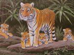 Kifestő készlet akrilfestékkel, ecsettel, gyerekeknek 11 éves kortól - 30x40 cm - Tigris család