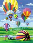Kifestő készlet akrilfestékkel, ecsettel, gyerekeknek 8 éves kortól - 20x25 cm - Hőlégballon - Újra kapható!