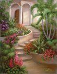Kifestő készlet vászonra, akrilfestékkel, ecsettel, felnőtteknek - 28x36 cm - Trópusi kert - Újra kapható!