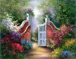 Kifestő készlet vászonra, akrilfestékkel, ecsettel, felnőtteknek - 28x36 cm - Kert kapuja