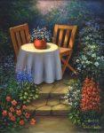 Kifestő készlet vászonra, akrilfestékkel, ecsettel, felnőtteknek - 28x36 cm - Kerti asztal