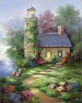 Kifestő készlet vászonra, akrilfestékkel, ecsettel, felnőtteknek - 28x36 cm - Régi világítótorony - Újra kapható