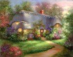 Kifestő készlet vászonra, akrilfestékkel, ecsettel, felnőtteknek - 28x36 cm - Erdei házikó