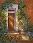 Kifestő készlet vászonra, akrilfestékkel, ecsettel, felnőtteknek - 28x36 cm - Viktoriánus ház bejárata