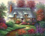 Kifestő készlet vászonra, akrilfestékkel, ecsettel, felnőtteknek - 28x36 cm - Régi házikó