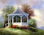 Kifestő készlet vászonra, akrilfestékkel, ecsettel, felnőtteknek - 28x36 cm - Tóparti szaletli