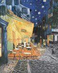 Kifestő készlet vászonra, akrilfestékkel, ecsettel, felnőtteknek - 28x36 cm - Kávéházi terasz (Van Gogh: Éjjeli terasz, 1888)
