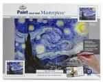Kifestő készlet vászonra, akrilfestékkel, ecsettel, felnőtteknek - 23x31 cm - Van Gogh: Csillagos éjszaka