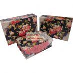 Díszdoboz - Nagyméretű virágos díszdoboz készlet - 3db
