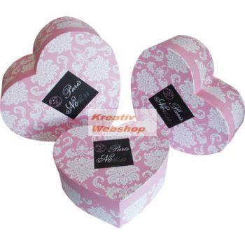 Díszdoboz - Szív alakú, virágmintás ajándékdoboz készlet - 3db
