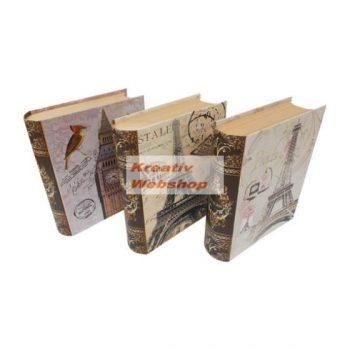Díszdoboz - Könyv alakú, városok mintás ajándékdoboz készlet - 3db