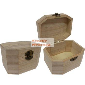 Fa doboz, hatszögletű, natúr fadoboz 12x10x8cm