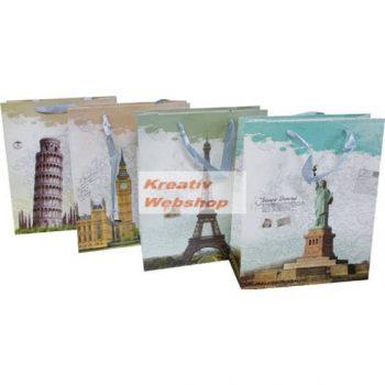 Ajándéktáska, ajándéktasak, dísz tasak, 25x18x7,5 cm - Városok: New York, Párizs, London, Pisai ferdetorony