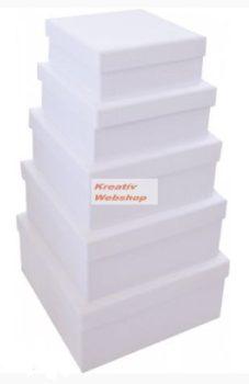 Díszíthető papírdoboz készlet, nagy és közepes négyzetes dobozok, FEHÉR, 25-23-20-18-15cm