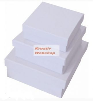 Papírdoboz készlet, négyzetes, lapos fehér dobozok, FEHÉR, 12-10-8cm