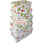 Díszdoboz - Karácsonyi dobozok - Dobozkészlet, 5db
